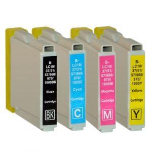 Inktcartridge / Alternatief 10 (4xbk, 2x c,y,m) patronen BCMY Brother LC1000 / 970 | Brother DCP 150C/. 330 C/ 350C/ 357C/ 540 CN/ 560CN/ 750 CW/ 77