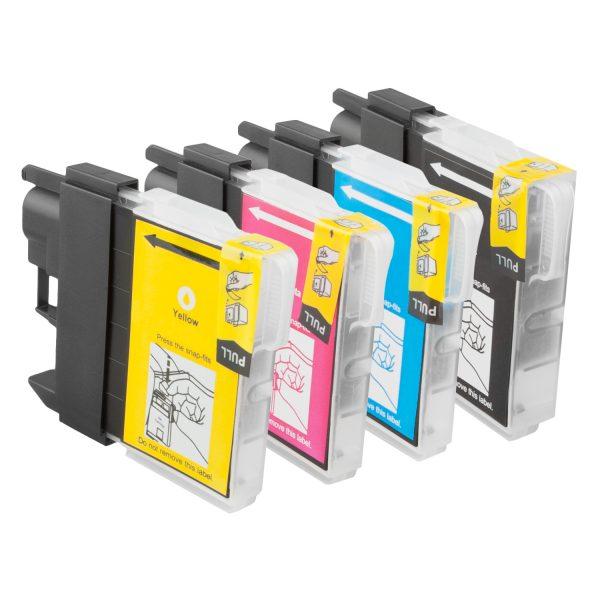 Inktcartridge / Alternatief 4 Brother LC 1100 Multipack XL (BK, C,M,Y) | Brother DCP 145C/ 165C/ 193C/ 195C/ 197C/ 365CN/ 373CW/ 375CW/ 377CW/ 385C/