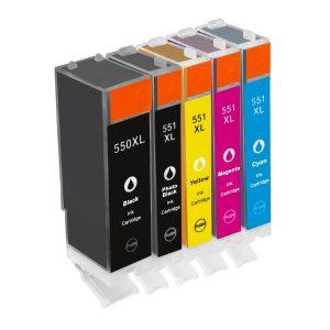 Inktcartridge / Alternatief spaarset 5 patronen Canon PGI-550 CLI551 | Canon Pixma IP7250/ IP8750/ MG5400/ MG5450/ MG5550/ MG5650/ MG6350/ MG6450/ MG